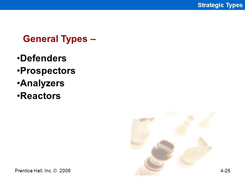 General Types – Defenders Prospectors Analyzers Reactors