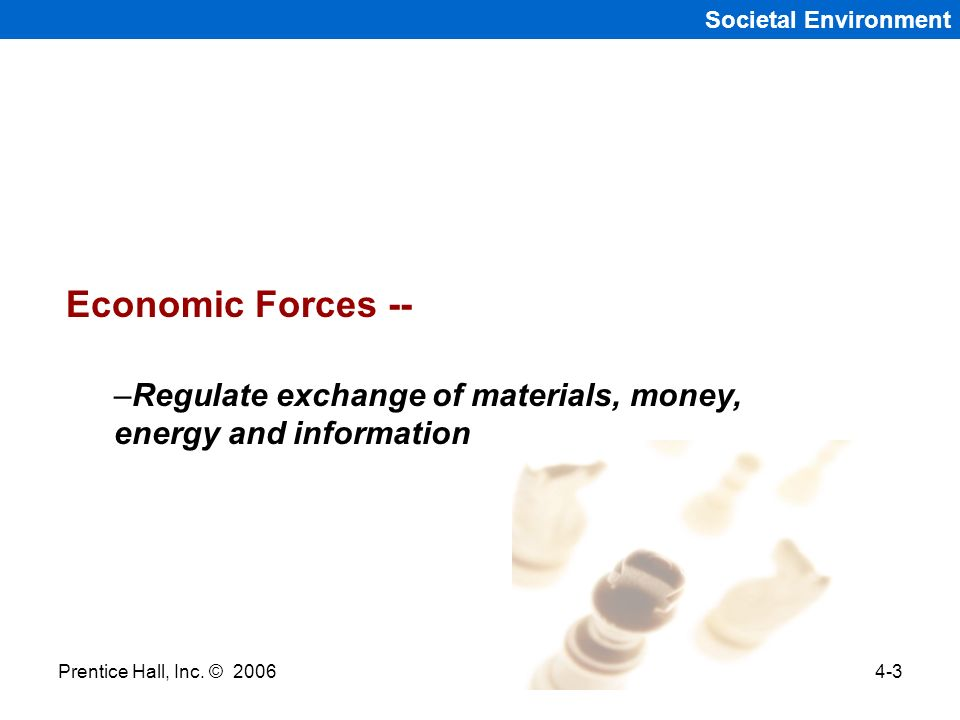 Societal Environment Economic Forces -- Regulate exchange of materials, money, energy and information.