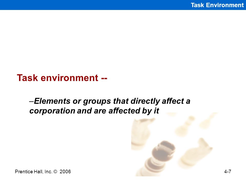 Task Environment Task environment -- Elements or groups that directly affect a corporation and are affected by it.