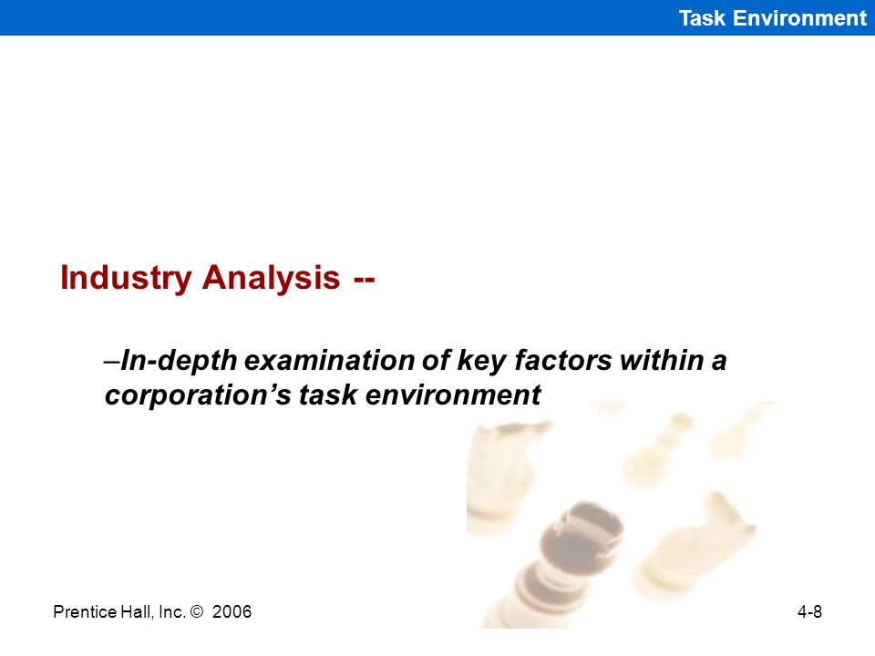 Task Environment Industry Analysis -- In-depth examination of key factors within a corporation's task environment.