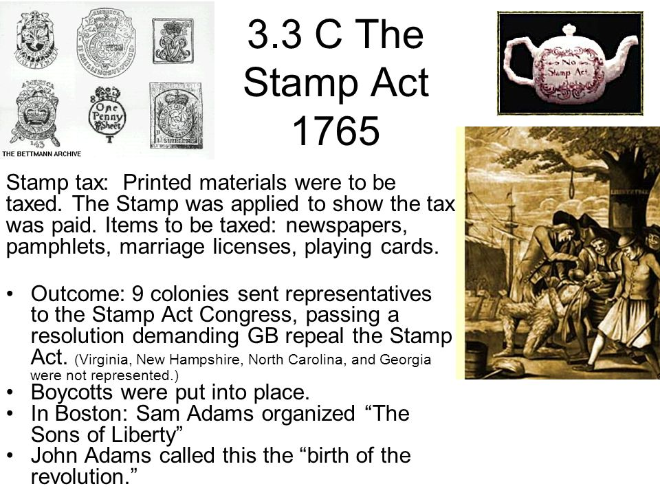 3.3 C The Stamp Act 1765