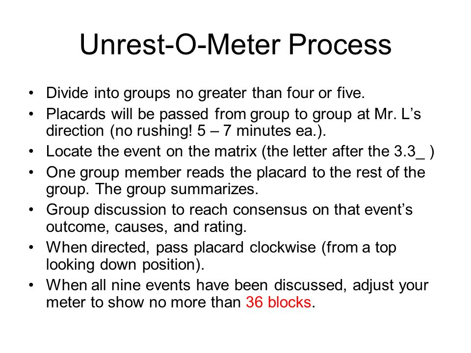 Unrest-O-Meter Process