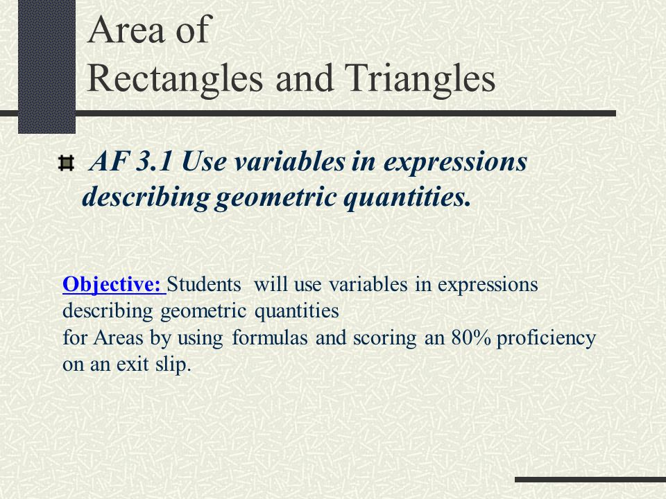 Areas of parallelograms triangles and trapezoids ppt video area of rectangles and triangles ccuart Image collections