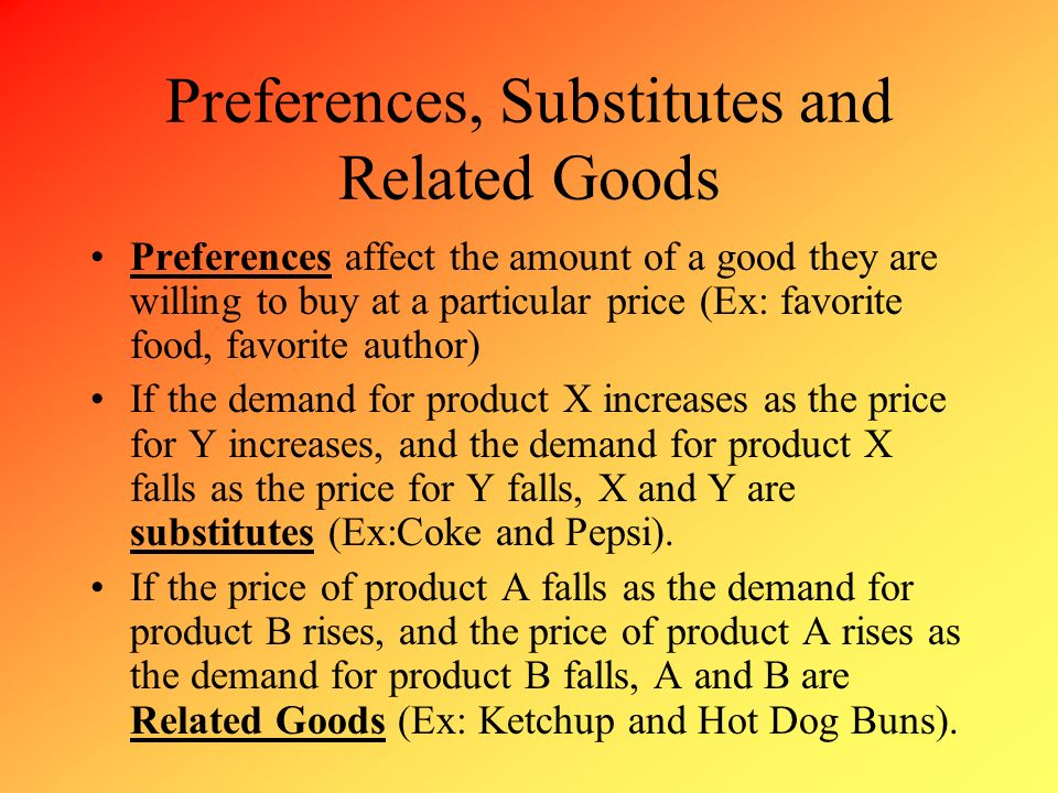 Preferences, Substitutes and Related Goods
