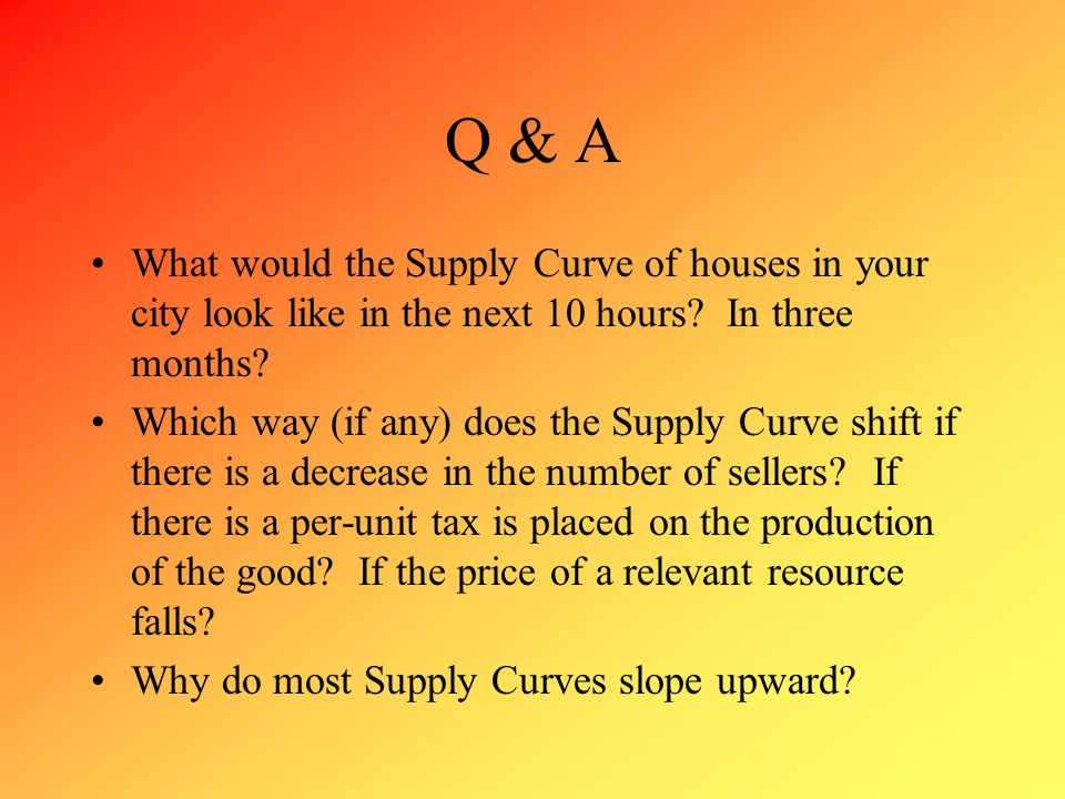 Q & A What would the Supply Curve of houses in your city look like in the next 10 hours In three months