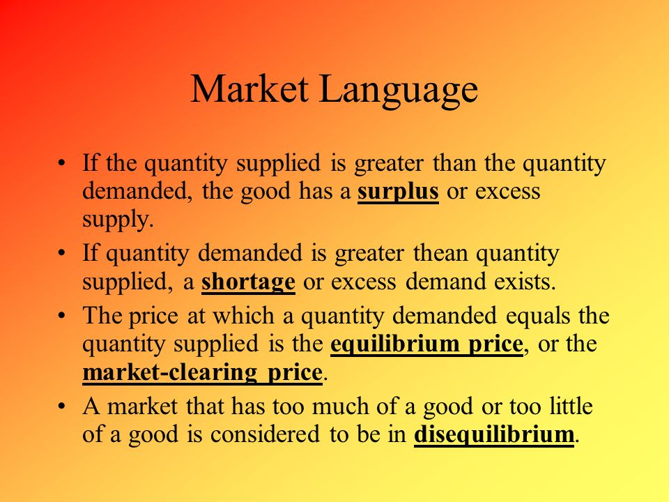Market Language If the quantity supplied is greater than the quantity demanded, the good has a surplus or excess supply.