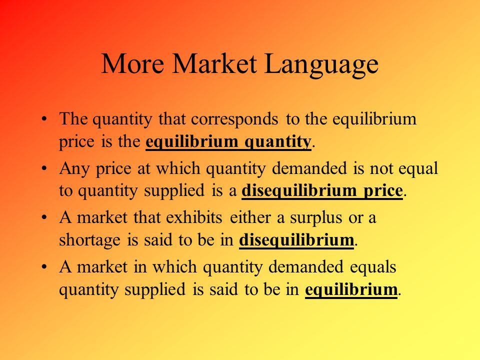 More Market Language The quantity that corresponds to the equilibrium price is the equilibrium quantity.