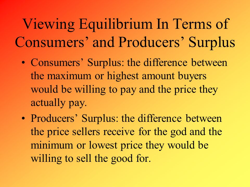 Viewing Equilibrium In Terms of Consumers' and Producers' Surplus