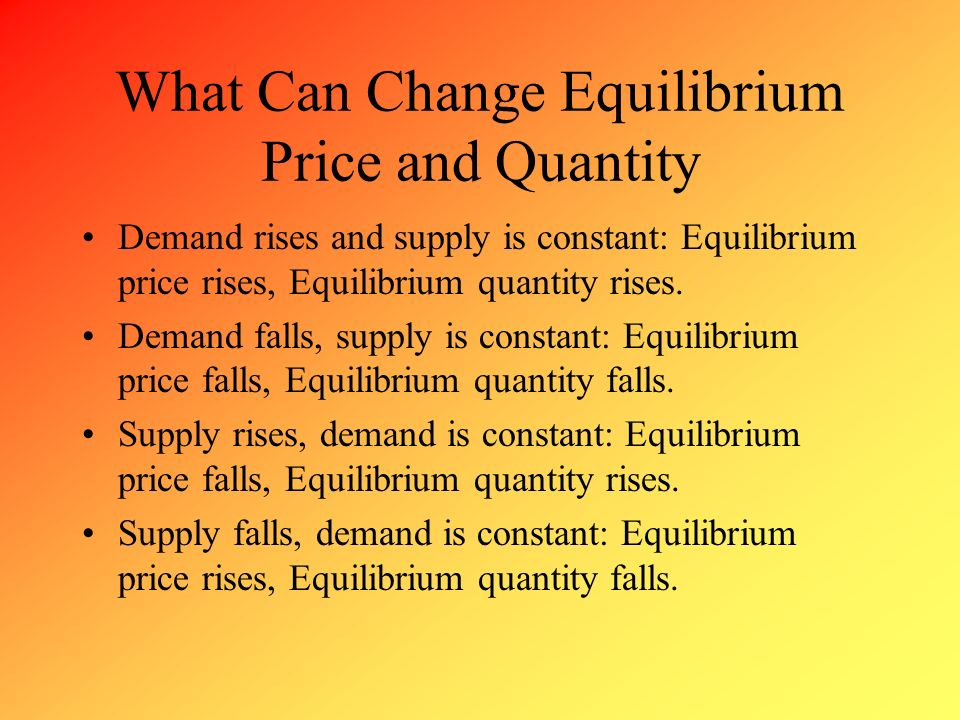What Can Change Equilibrium Price and Quantity