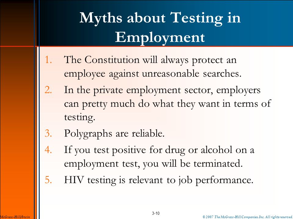 Myths about Testing in Employment