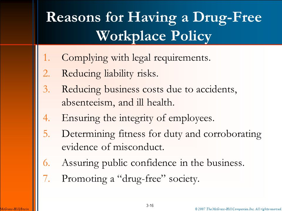 Reasons for Having a Drug-Free Workplace Policy