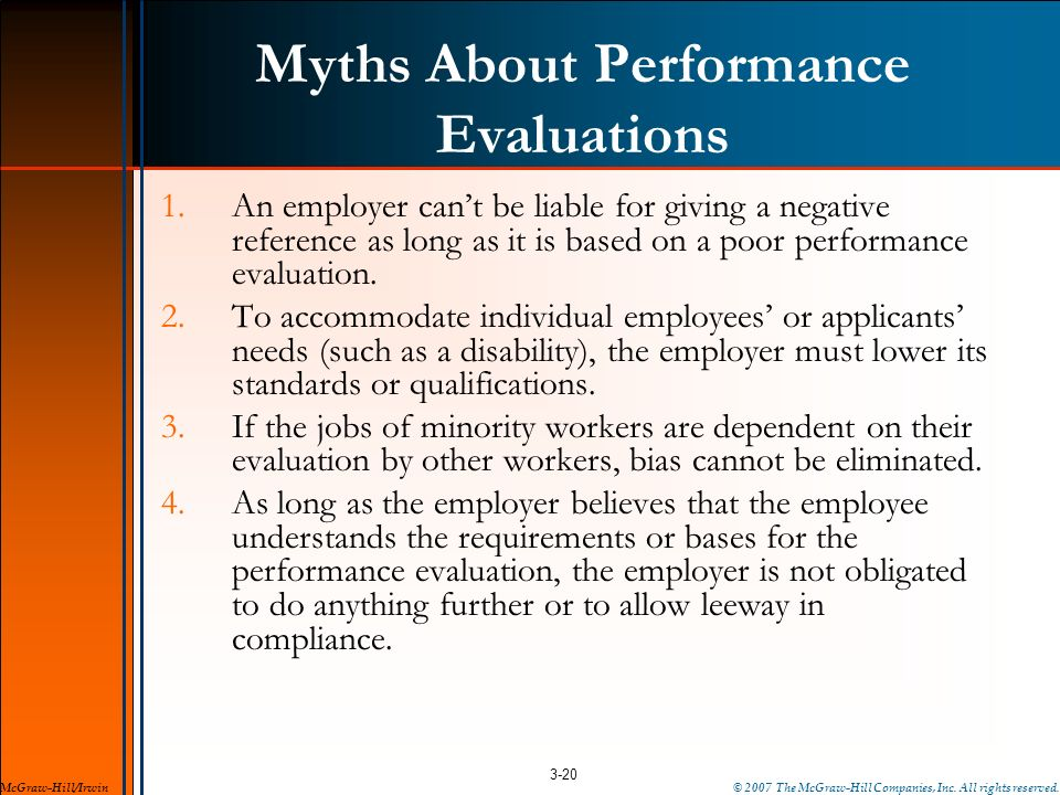 Myths About Performance Evaluations