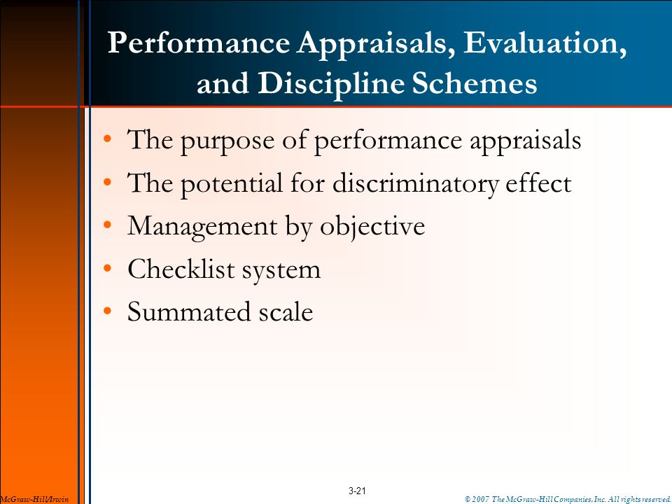 Performance Appraisals, Evaluation, and Discipline Schemes