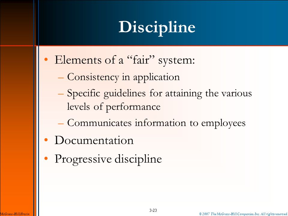 Discipline Elements of a fair system: Documentation