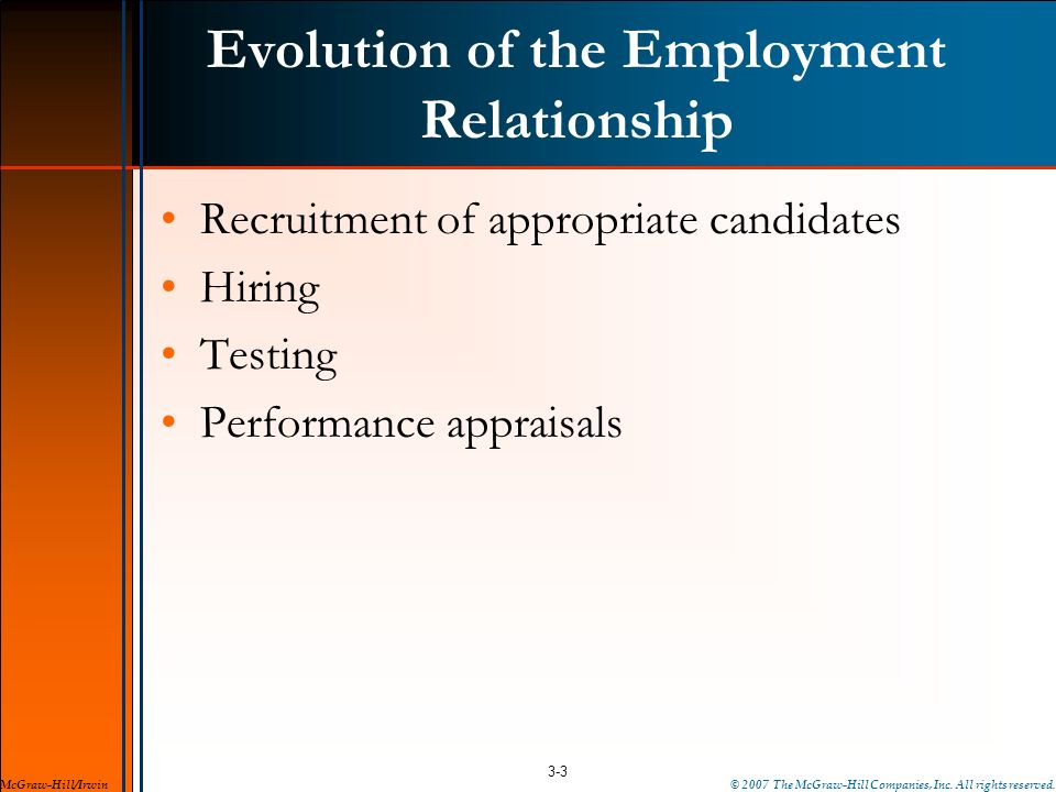 Evolution of the Employment Relationship