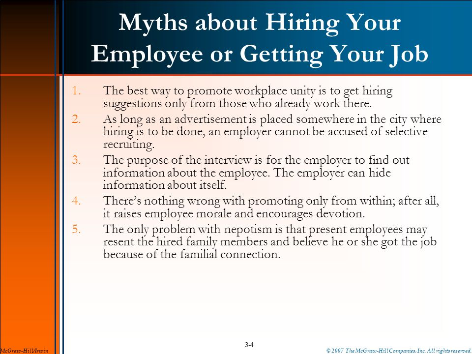 Myths about Hiring Your Employee or Getting Your Job
