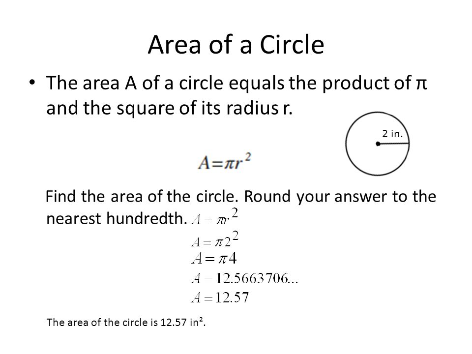 Area of a Circle The area A of a circle equals the product of π and the square of its radius r.