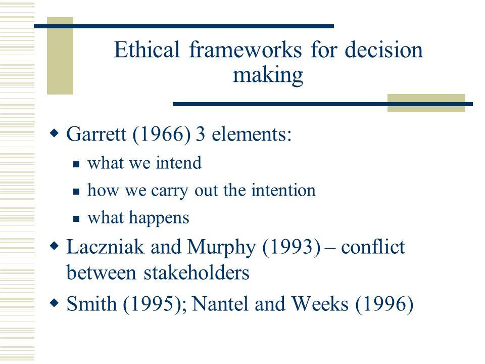 Ethical frameworks for decision making