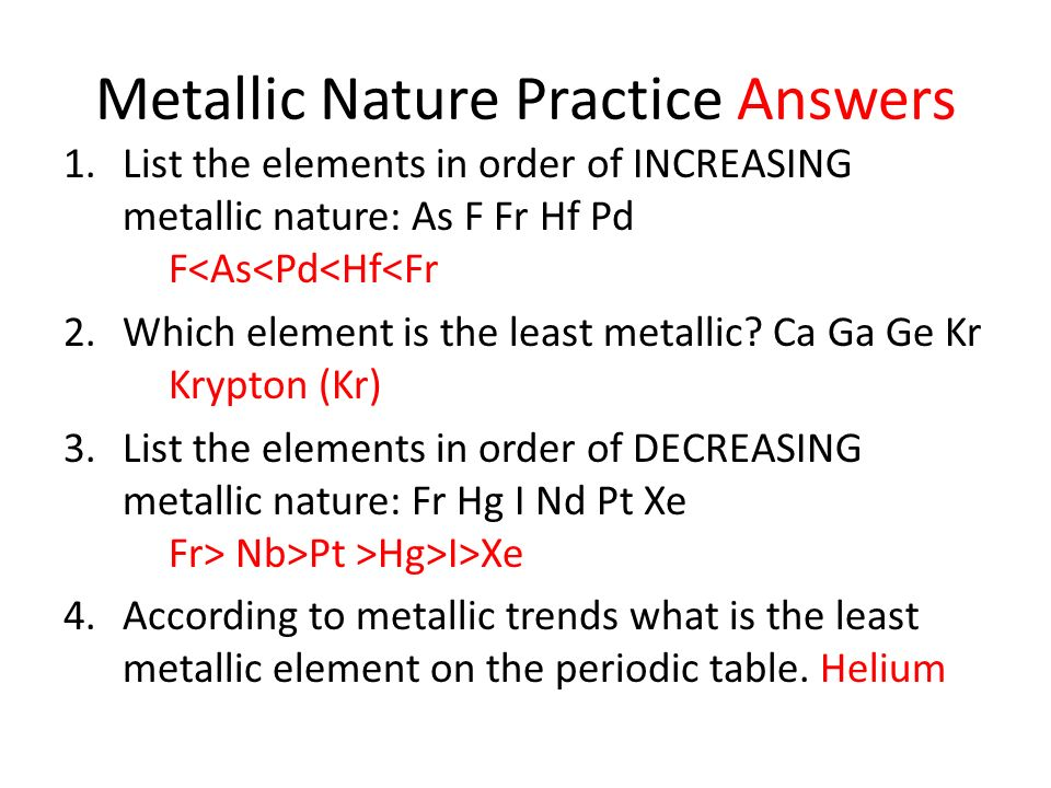 Metallic Nature Practice Answers