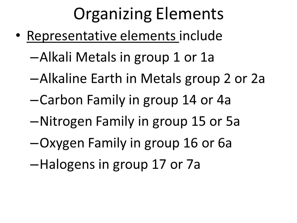 Organizing Elements Representative elements include