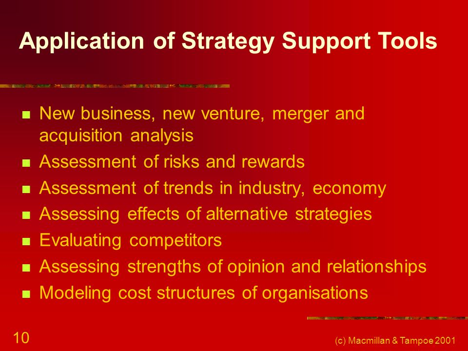 Application of Strategy Support Tools