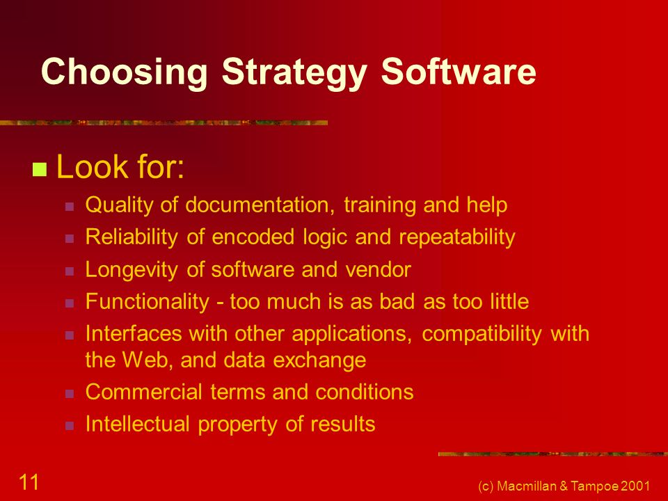 Choosing Strategy Software