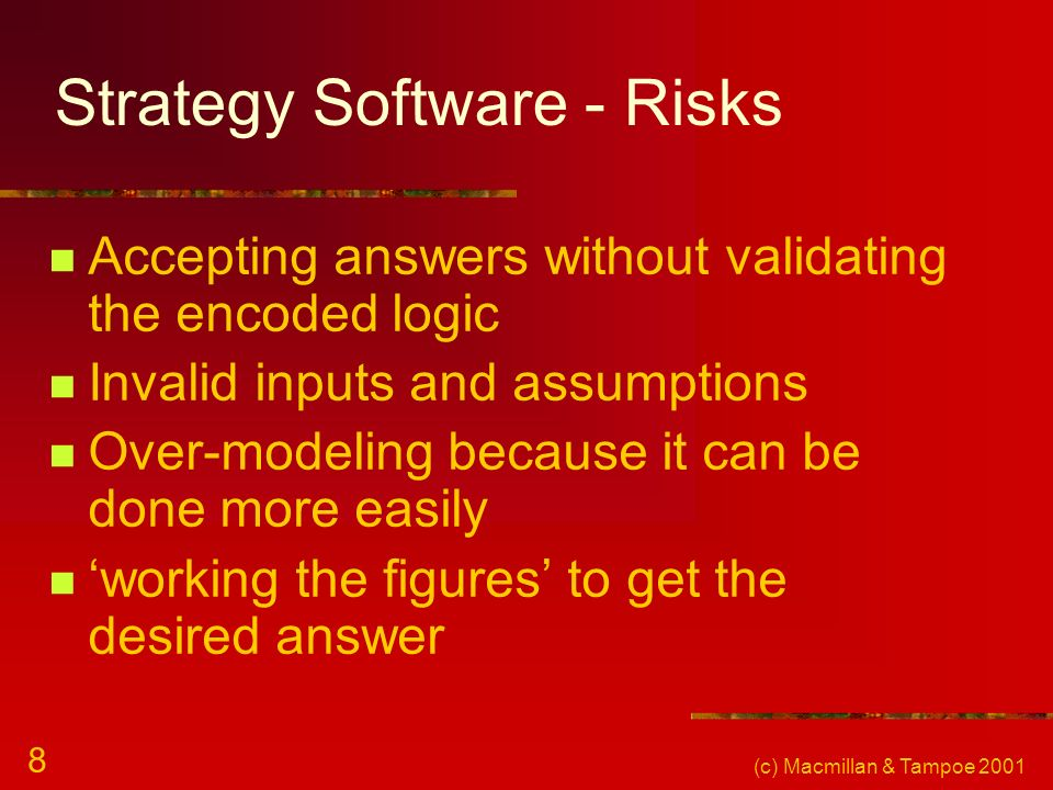 Strategy Software - Risks