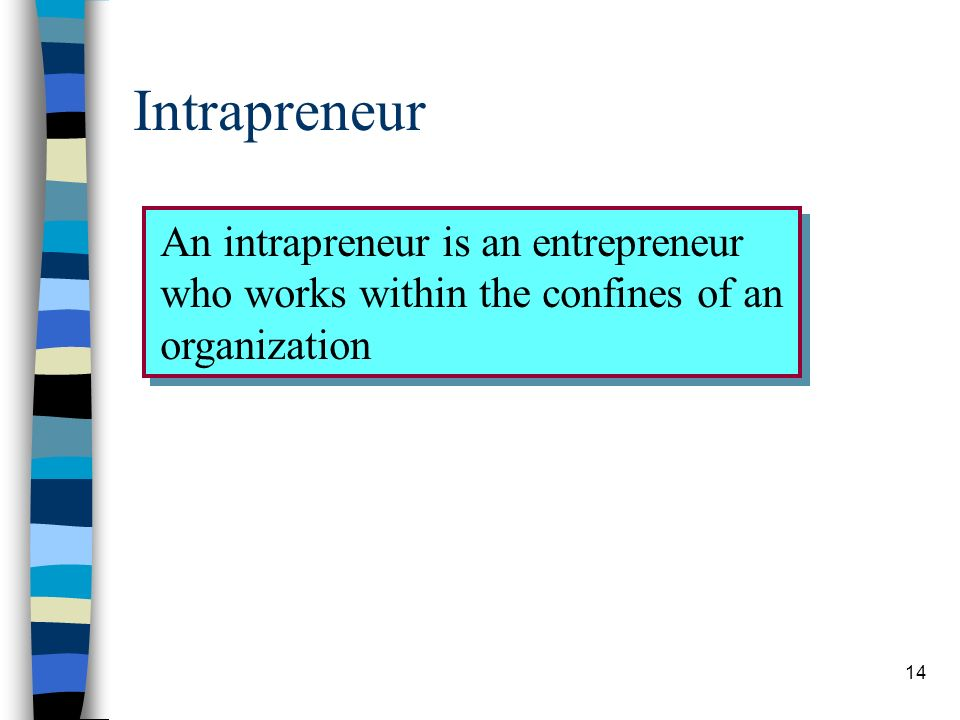 Intrapreneur An intrapreneur is an entrepreneur who works within the confines of an organization