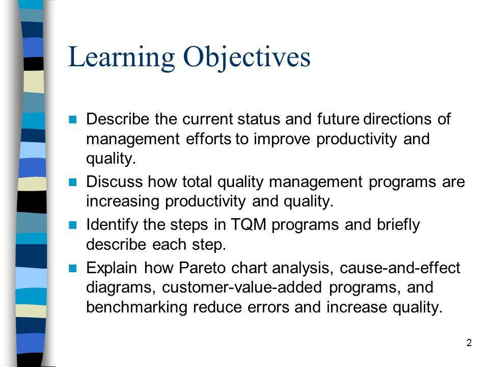Learning Objectives Describe the current status and future directions of management efforts to improve productivity and quality.