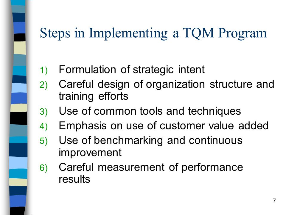 Steps in Implementing a TQM Program