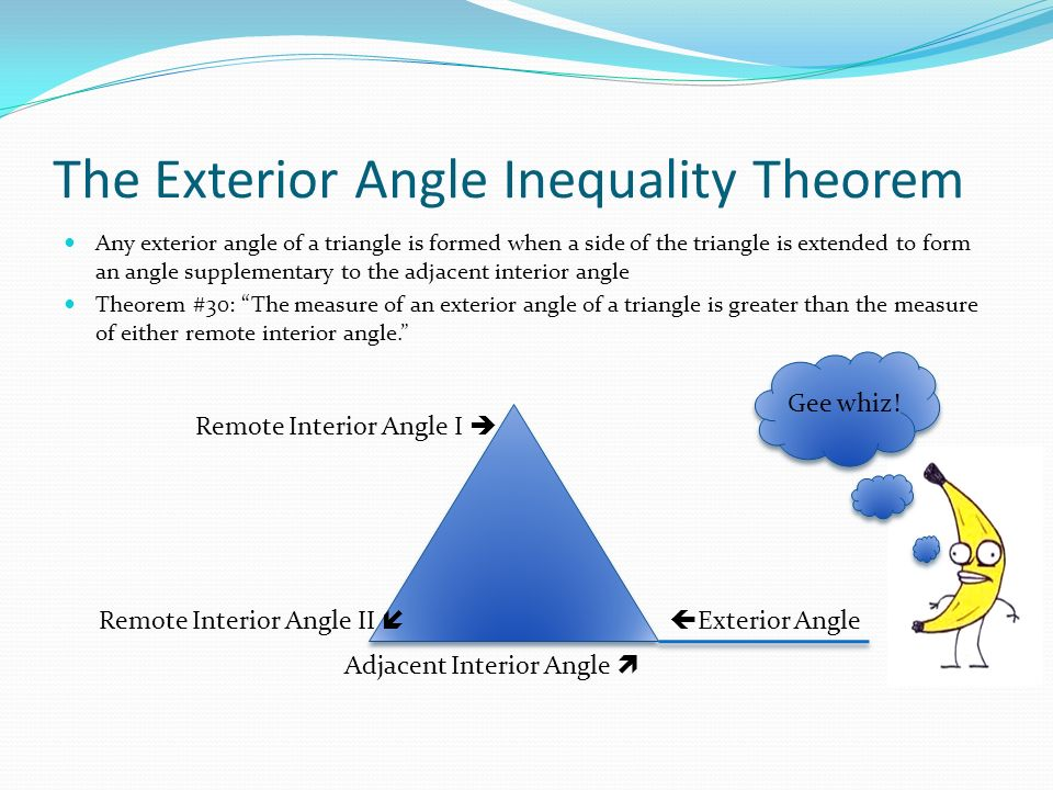 Chapter 5 section 2 proving that lines are parallel ppt - Exterior angle inequality theorem ...