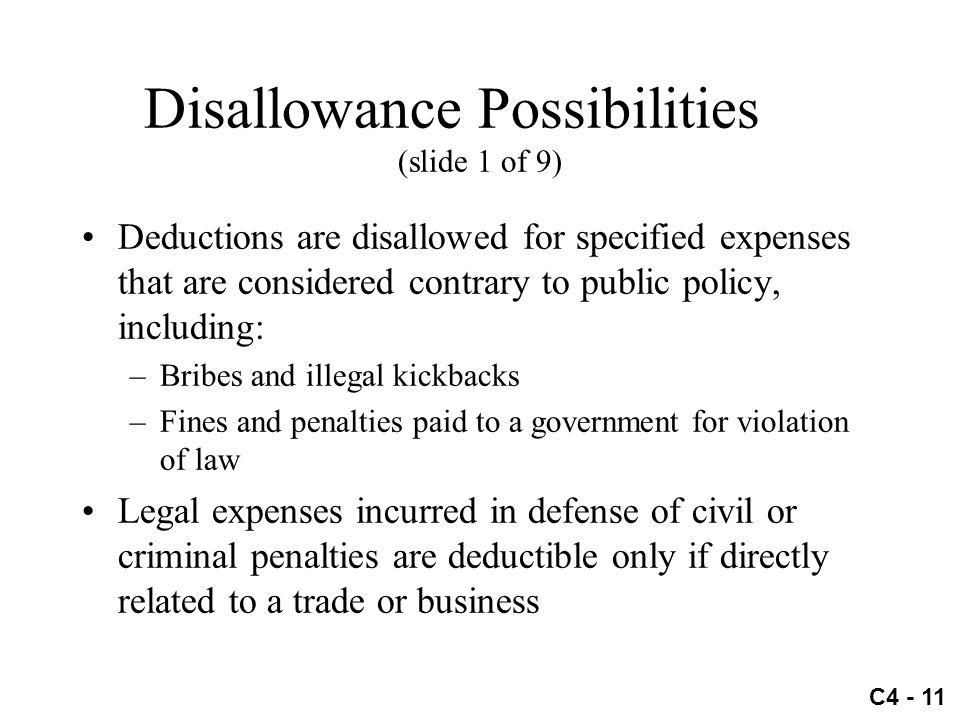 Disallowance Possibilities (slide 1 of 9)