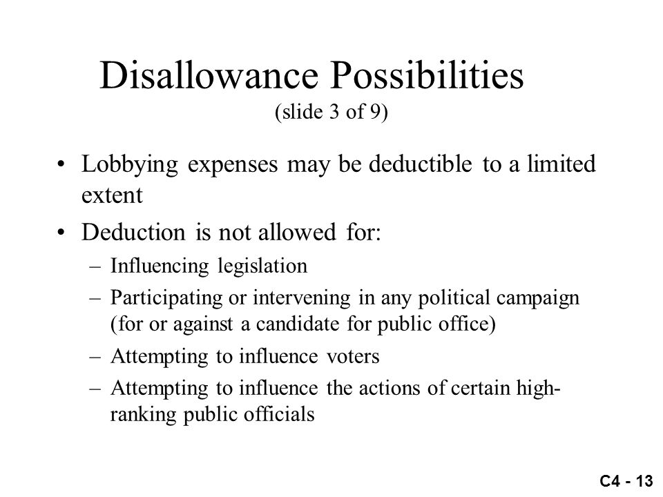 Disallowance Possibilities (slide 3 of 9)