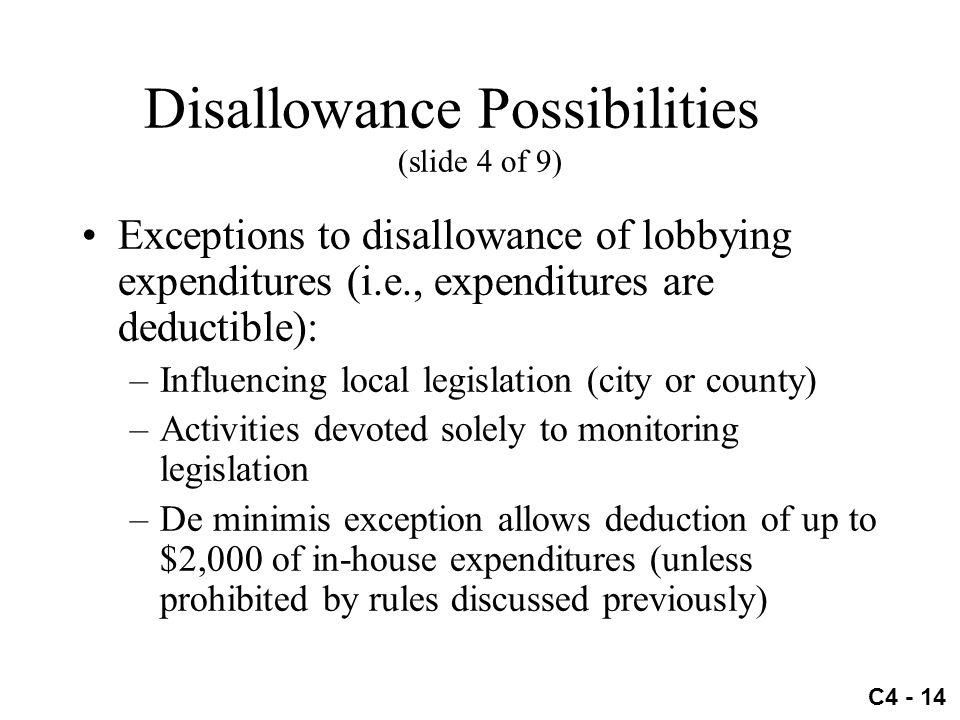 Disallowance Possibilities (slide 4 of 9)