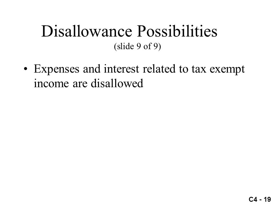 Disallowance Possibilities (slide 9 of 9)