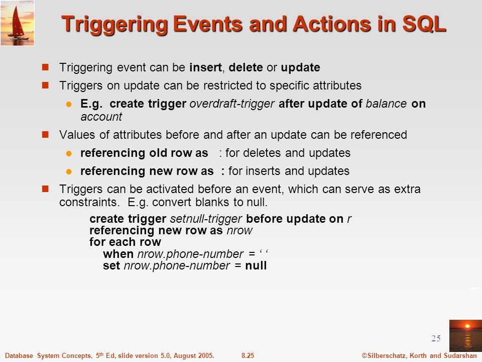 Triggering Events and Actions in SQL