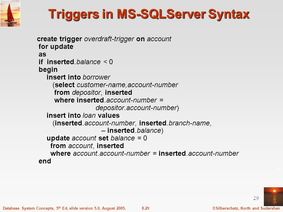 Triggers in MS-SQLServer Syntax