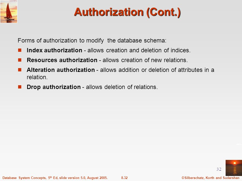 Authorization (Cont.) Forms of authorization to modify the database schema: Index authorization - allows creation and deletion of indices.