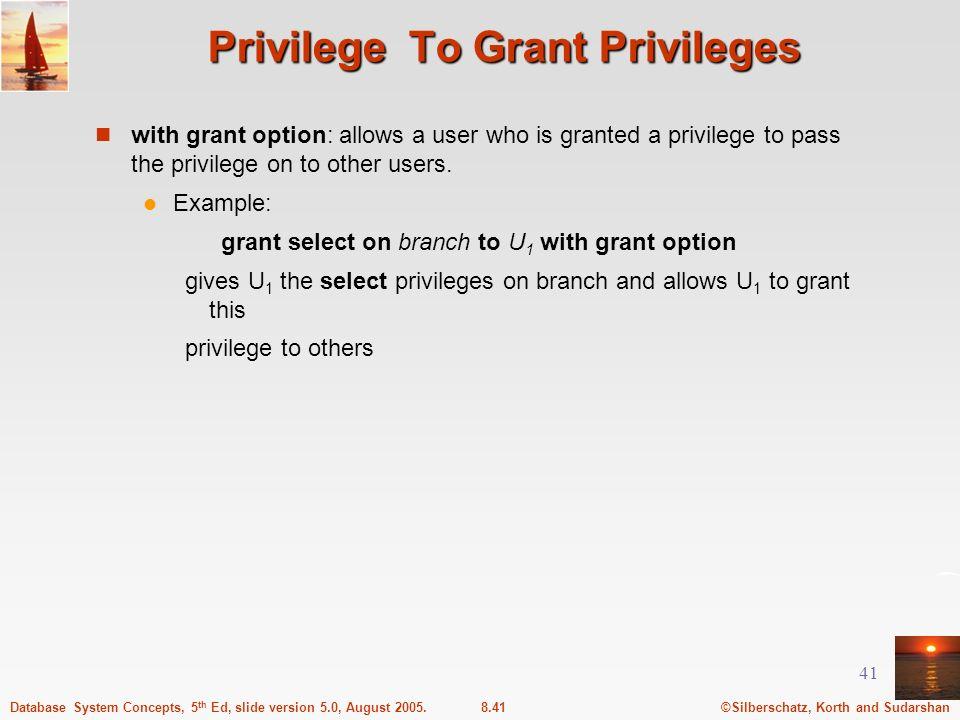 Privilege To Grant Privileges