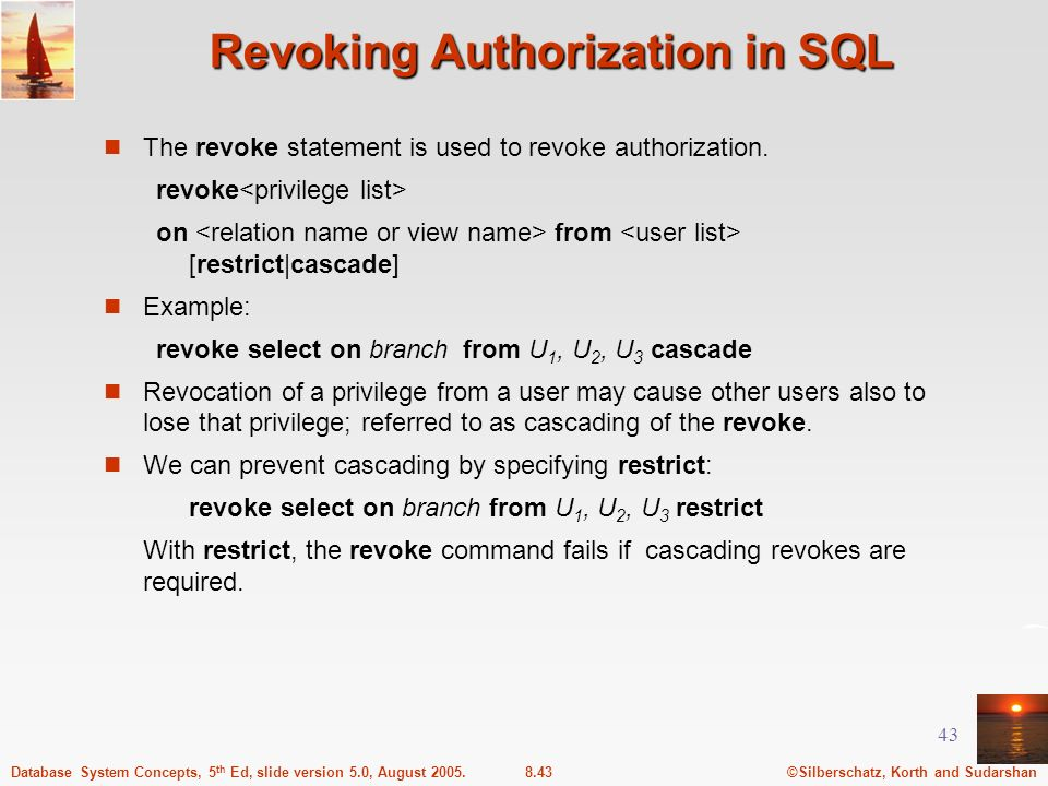 Revoking Authorization in SQL