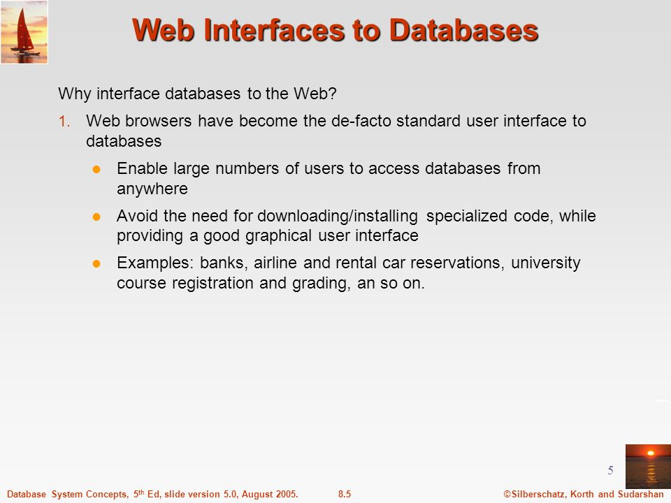 Web Interfaces to Databases