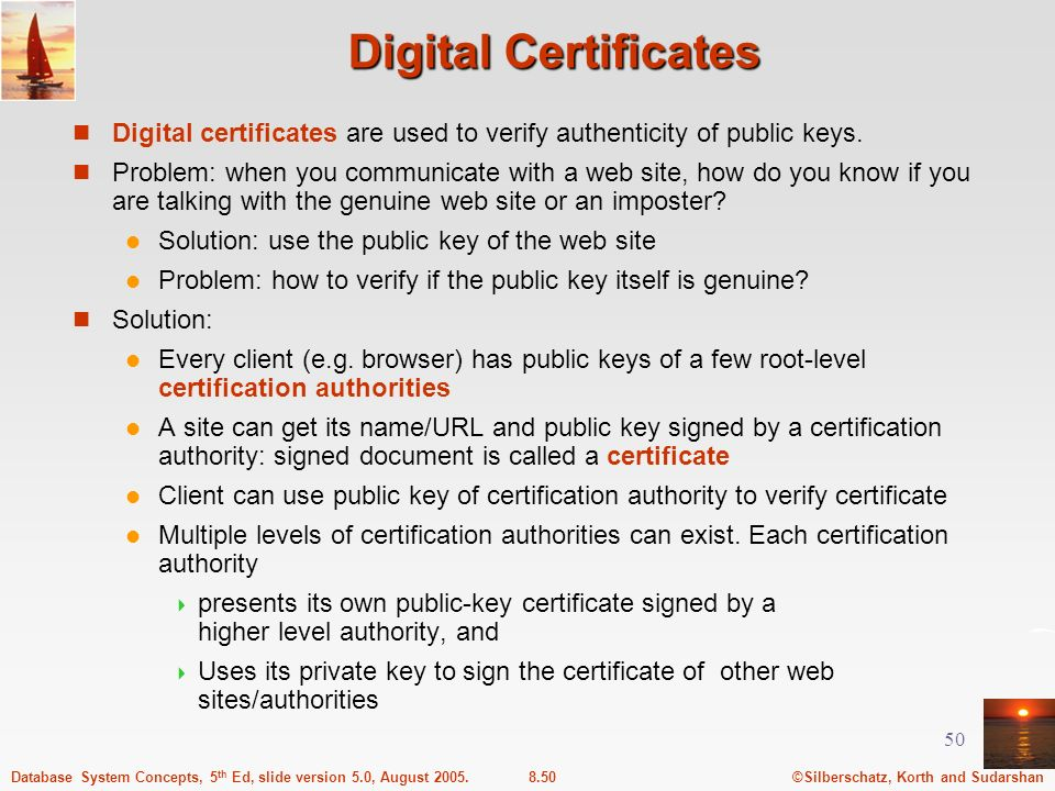 Digital Certificates Digital certificates are used to verify authenticity of public keys.
