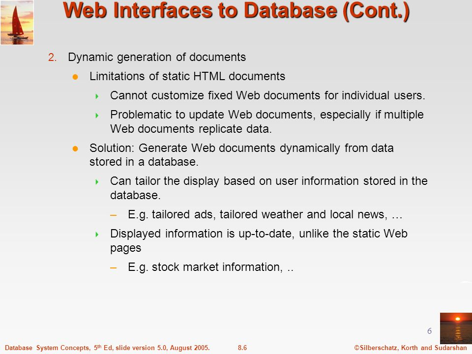 Web Interfaces to Database (Cont.)