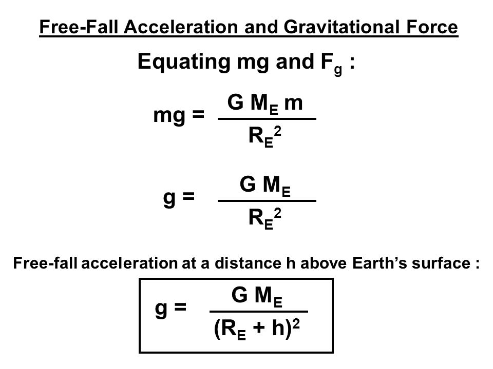Free-Fall Acceleration and Gravitational Force