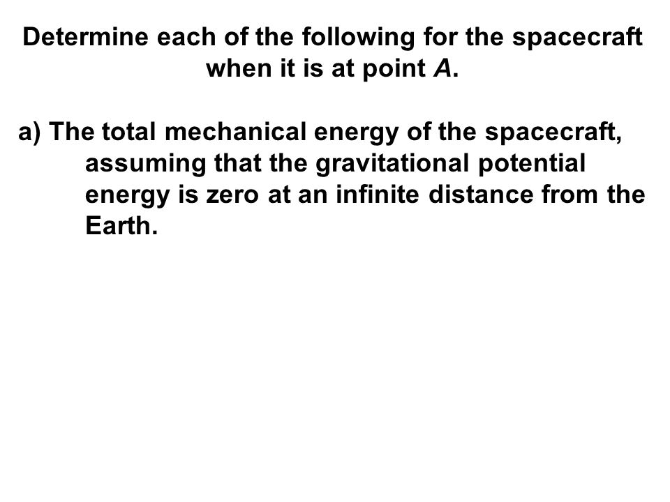 Determine each of the following for the spacecraft when it is at point A.