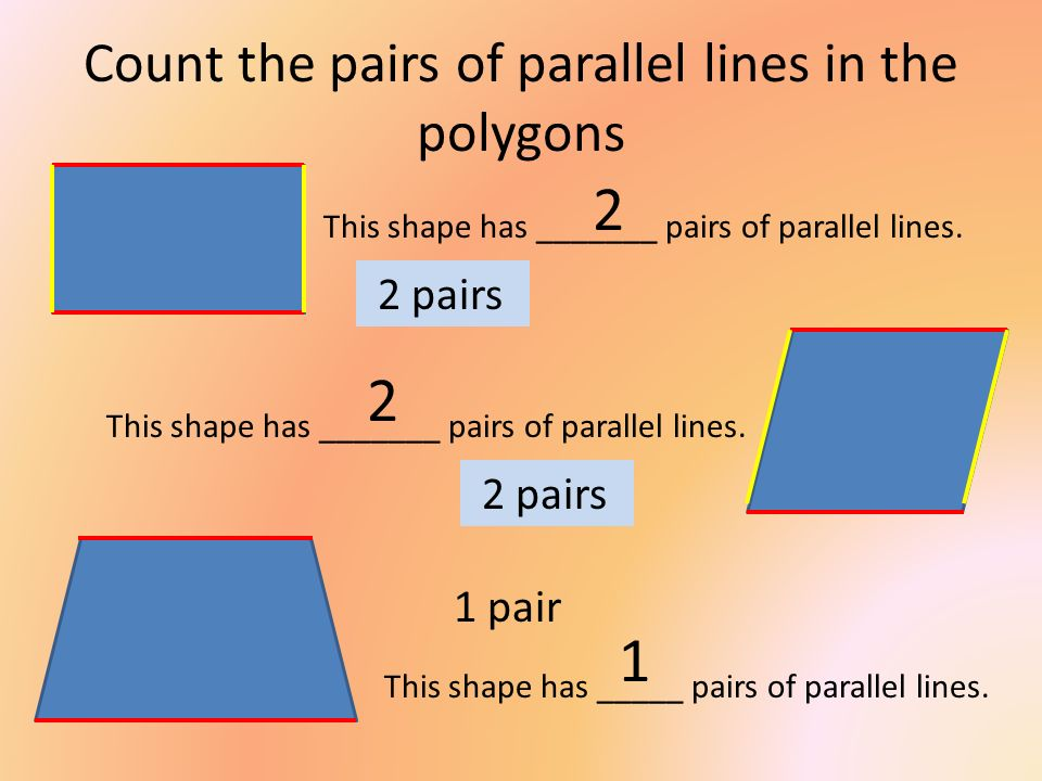 Count the pairs of parallel lines in the polygons
