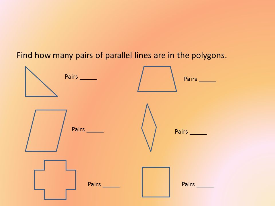 Find how many pairs of parallel lines are in the polygons.