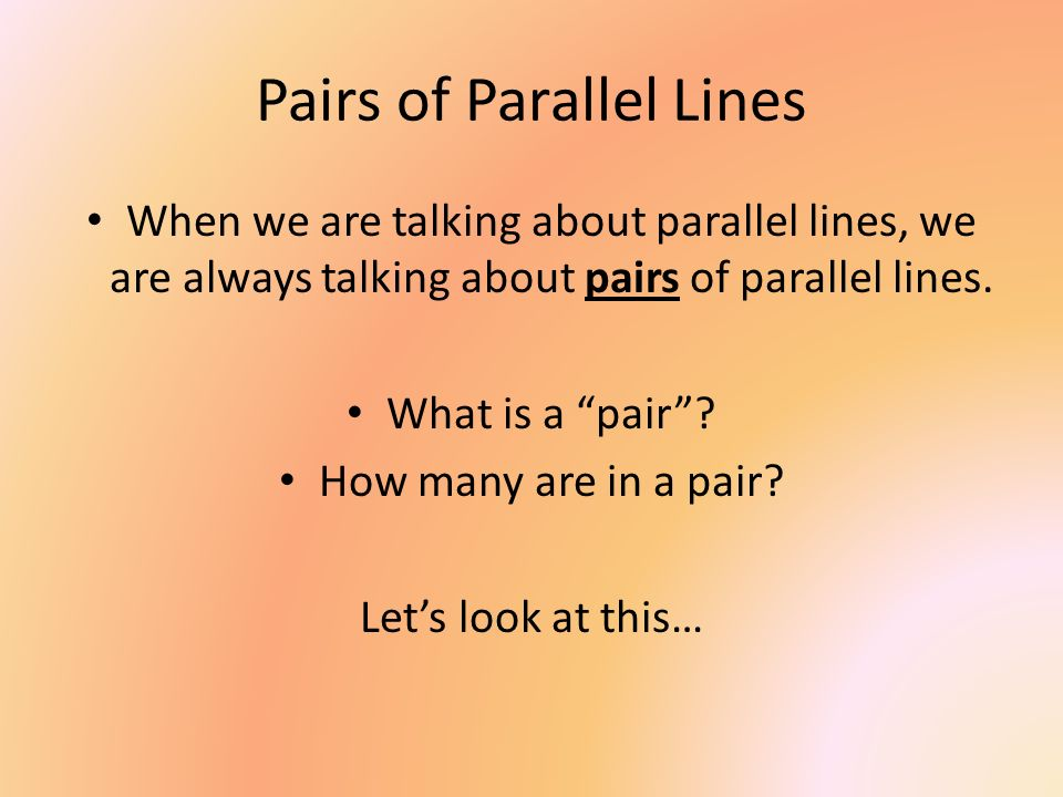 Pairs of Parallel Lines