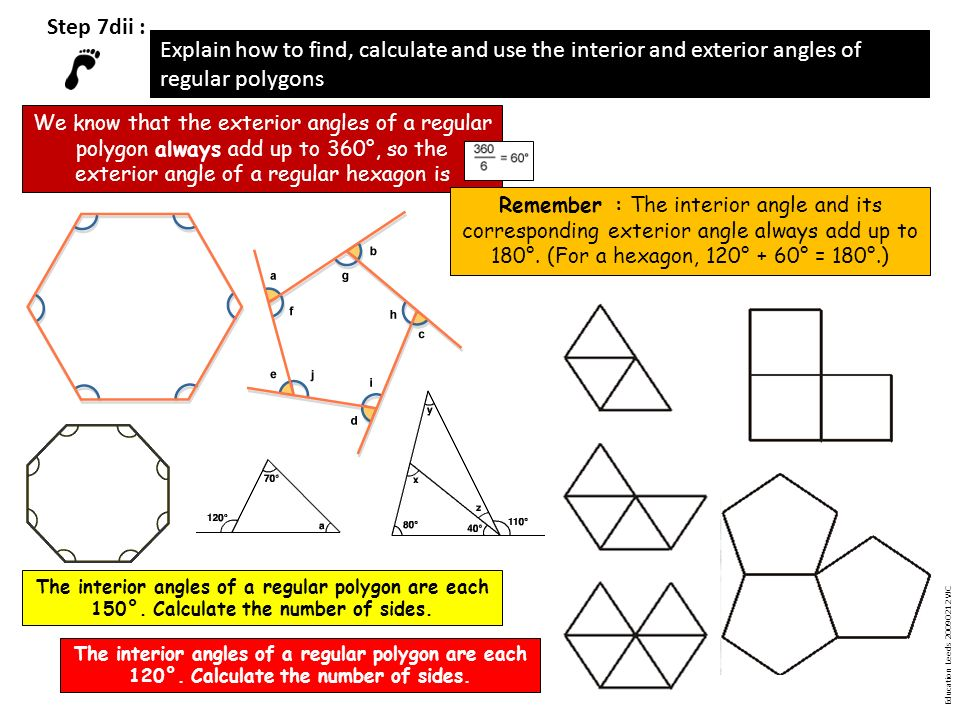 Step 1 identify lines of symmetry in simple shapes and recognise shapes with no lines of for Exterior angles of a polygon formula