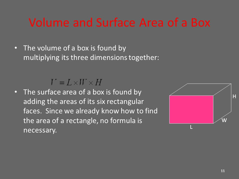 how to get the volume of a box